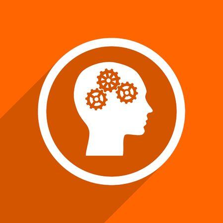 brainy: head icon. Orange flat button. Web and mobile app design illustration