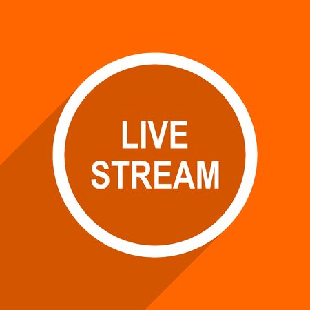 live stream: live stream icon. Orange flat button. Web and mobile app design illustration