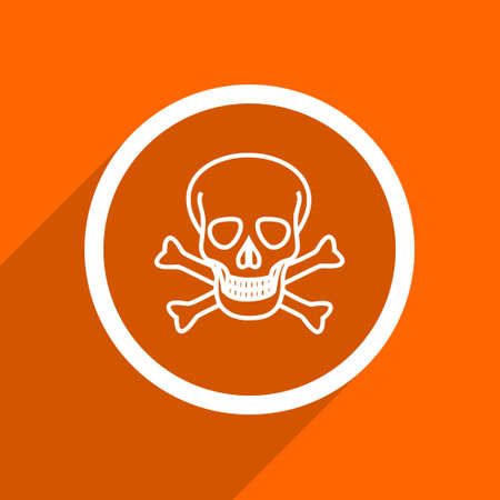 pirating: skull icon. Orange flat button. Web and mobile app design illustration