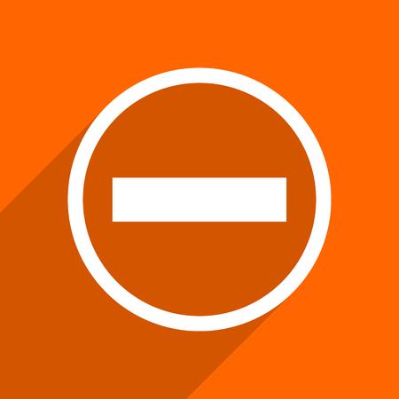 subtract: minus icon. Orange flat button. Web and mobile app design illustration Stock Photo