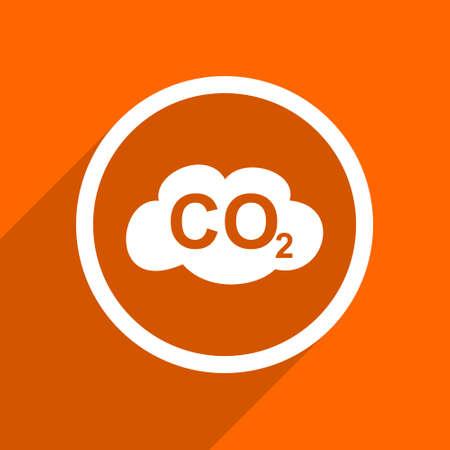 dioxide: carbon dioxide icon. Orange flat button. Web and mobile app design illustration