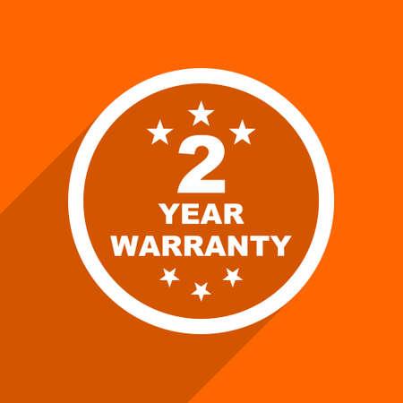 web 2: warranty guarantee 2 year icon. Orange flat button. Web and mobile app design illustration Stock Photo