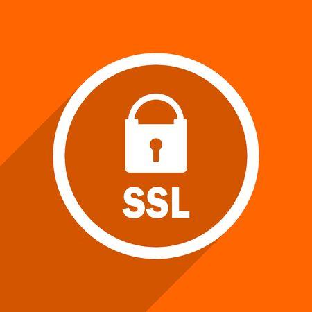 ssl: ssl icon. Orange flat button. Web and mobile app design illustration