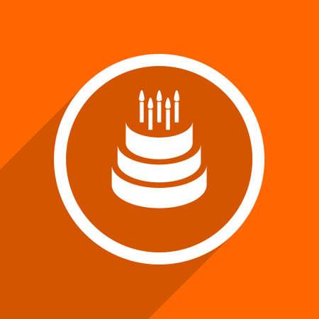 orange cake: cake icon. Orange flat button. Web and mobile app design illustration