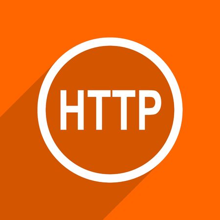 http: http icon. Orange flat button. Web and mobile app design illustration Stock Photo