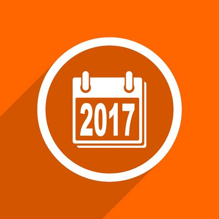 scheduler: new year 2017 icon. Orange flat button. Web and mobile app design illustration