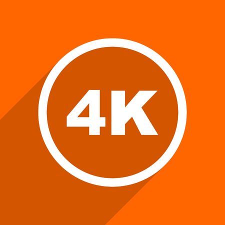 full screen: 4k icon. Orange flat button. Web and mobile app design illustration