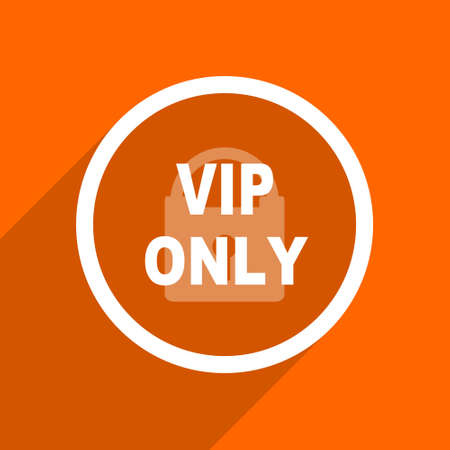 private club: vip only icon. Orange flat button. Web and mobile app design illustration