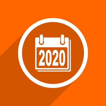 scheduler: new year 2020 icon. Orange flat button. Web and mobile app design illustration
