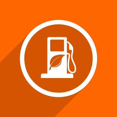 biofuel: biofuel icon. Orange flat button. Web and mobile app design illustration Stock Photo