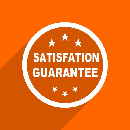 satisfaction guarantee: satisfaction guarantee icon. Orange flat button. Web and mobile app design illustration Stock Photo