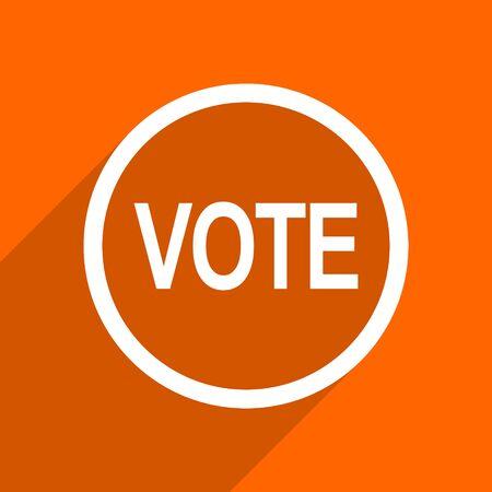 voter: vote icon. Orange flat button. Web and mobile app design illustration