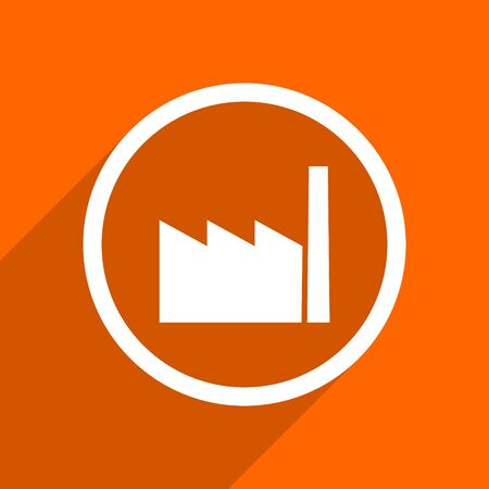 industrial complex: factory icon. Orange flat button. Web and mobile app design illustration