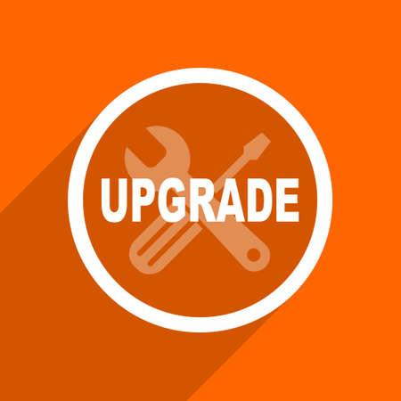 refreshed: upgrade icon. Orange flat button. Web and mobile app design illustration