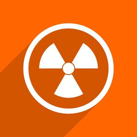 gamma radiation: radiation icon. Orange flat button. Web and mobile app design illustration