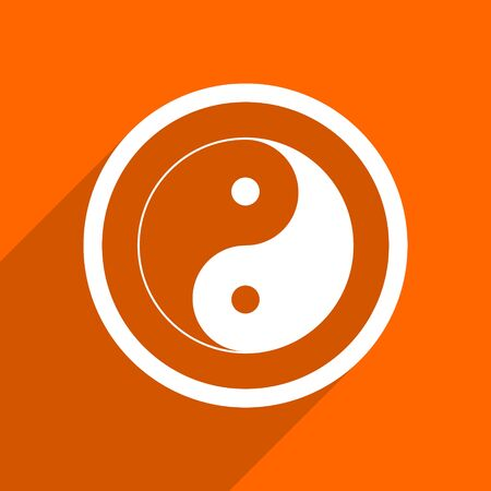 ying and yang: ying yang icon. Orange flat button. Web and mobile app design illustration
