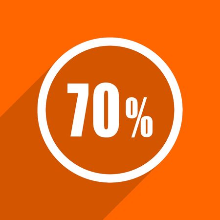 bargaining: 70 percent icon. Orange flat button. Web and mobile app design illustration
