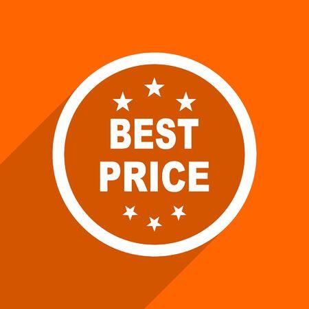 best price icon: best price icon. Orange flat button. Web and mobile app design illustration