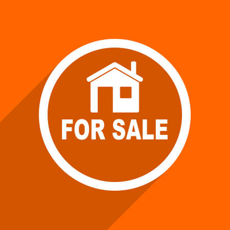 home ownership: for sale icon. Orange flat button. Web and mobile app design illustration