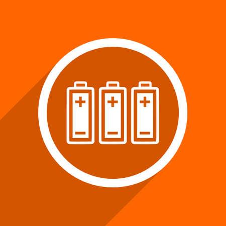 alkaline: battery icon. Orange flat button. Web and mobile app design illustration