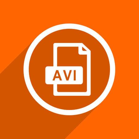 avi: avi file icon. Orange flat button. Web and mobile app design illustration