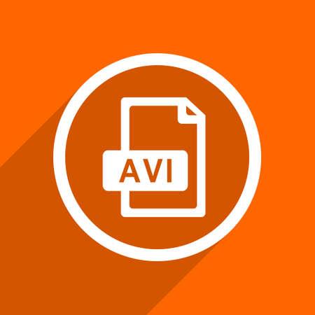 avi: avi file icon. Orange flat button. Web and mobile app design illustration
