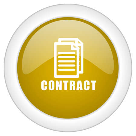 pacto: icono de contrato, brillante bot�n redondo de oro, web y aplicaci�n m�vil ilustraci�n, dise�o Foto de archivo