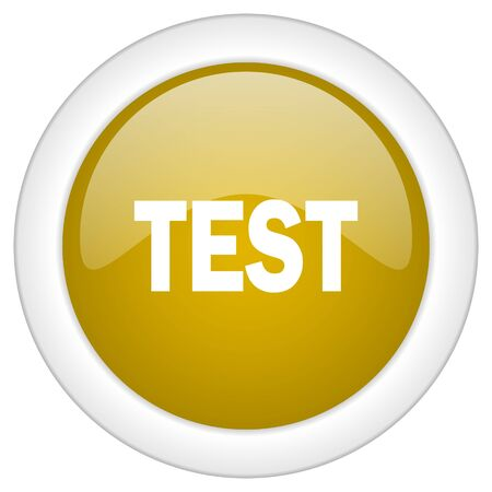 trials: test icon, golden round glossy button, web and mobile app design illustration
