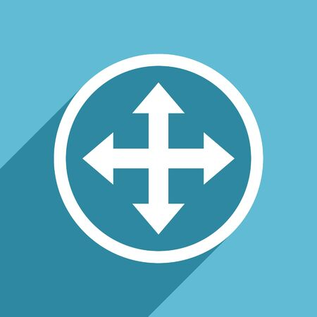 sterring: arrow icon, flat design blue icon, web and mobile app design illustration