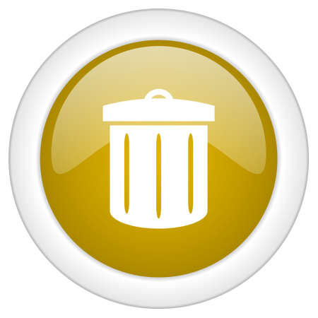 gold cans: recycle icon, golden round glossy button, web and mobile app design illustration