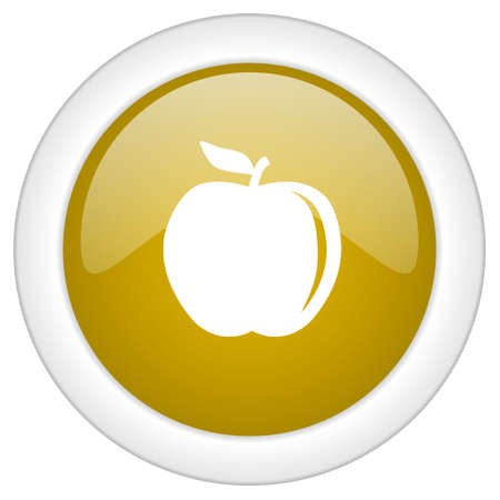 golden apple: apple icon, golden round glossy button, web and mobile app design illustration Stock Photo