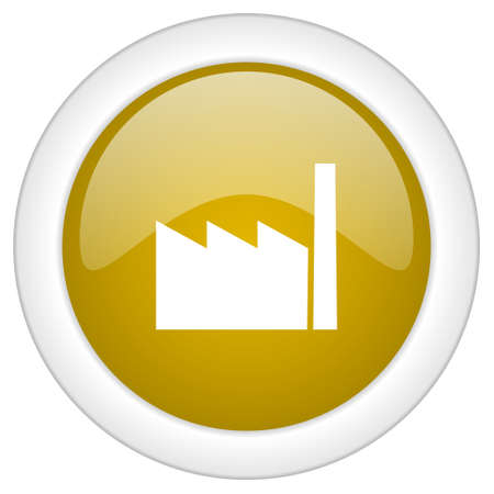 industrial complex: factory icon, golden round glossy button, web and mobile app design illustration Stock Photo