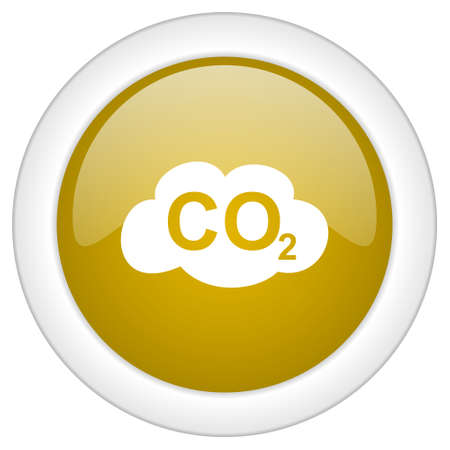 carbon dioxide: carbon dioxide icon, golden round glossy button, web and mobile app design illustration