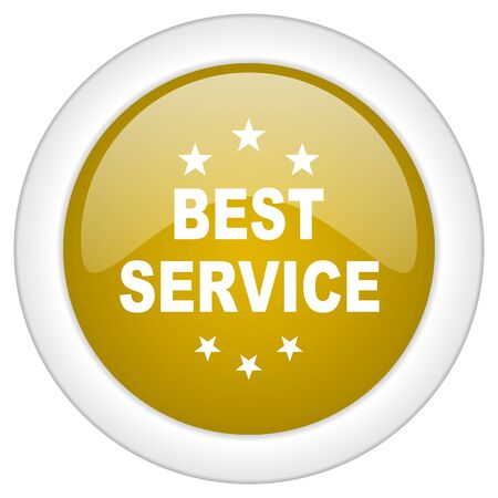 best service: best service icon, golden round glossy button, web and mobile app design illustration