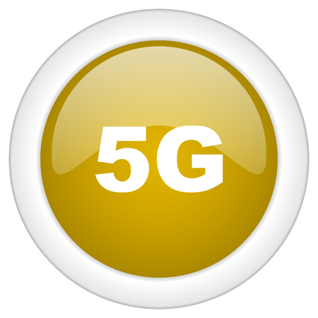 5g: 5g icon, golden round glossy button, web and mobile app design illustration
