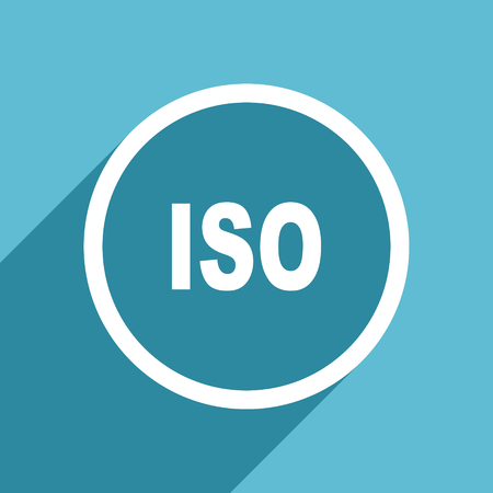 iso icon: iso icon, flat design blue icon, web and mobile app design illustration