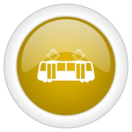 streetcar: tram icon, golden round glossy button, web and mobile app design illustration Stock Photo