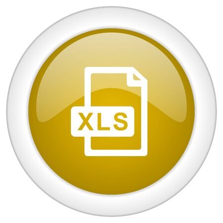 xls: xls file icon, golden round glossy button, web and mobile app design illustration Stock Photo
