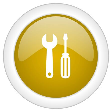 tools icon: tool icon, golden round glossy button, web and mobile app design illustration