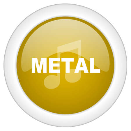 metal music: metal music icon, golden round glossy button, web and mobile app design illustration Stock Photo