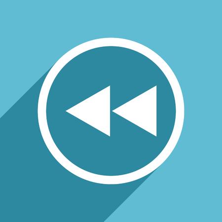 rewind icon: rewind icon, flat design blue icon, web and mobile app design illustration