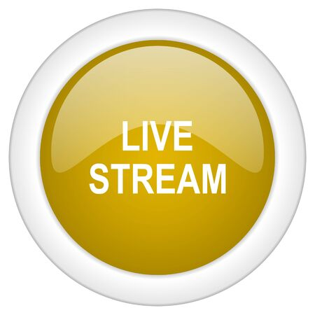 live stream: live stream icon, golden round glossy button, web and mobile app design illustration