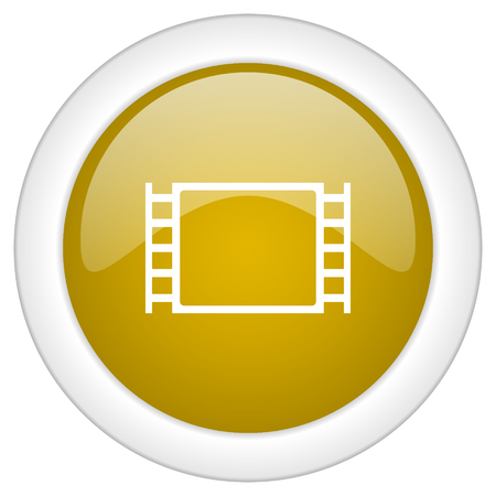watch movement: movie icon, golden round glossy button, web and mobile app design illustration