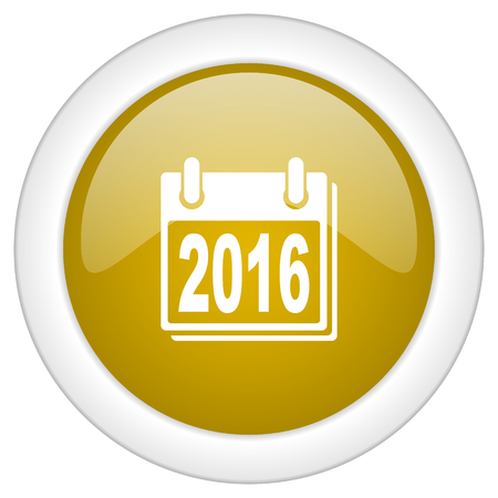 scheduler: new year 2016 icon, golden round glossy button, web and mobile app design illustration