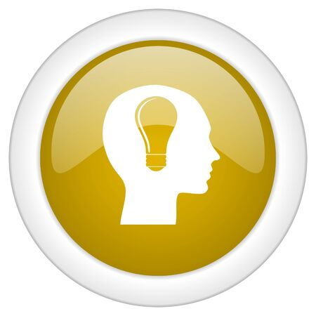 brainy: head icon, golden round glossy button, web and mobile app design illustration