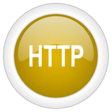 http: http icon, golden round glossy button, web and mobile app design illustration Stock Photo