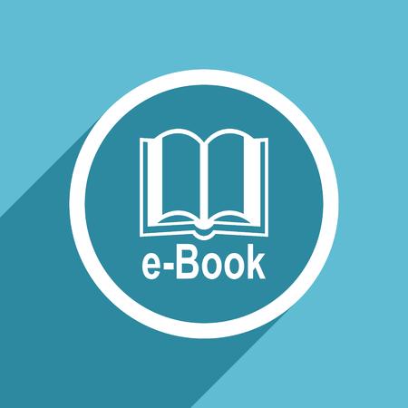 mobile app: book icon, flat design blue icon, web and mobile app design illustration Stock Photo