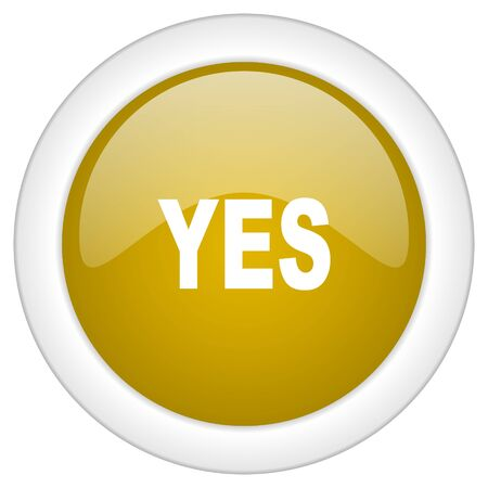 proceed: yes icon, golden round glossy button, web and mobile app design illustration Stock Photo