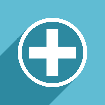 plus icon: plus icon, flat design blue icon, web and mobile app design illustration