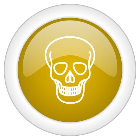 pirating: skull icon, golden round glossy button, web and mobile app design illustration
